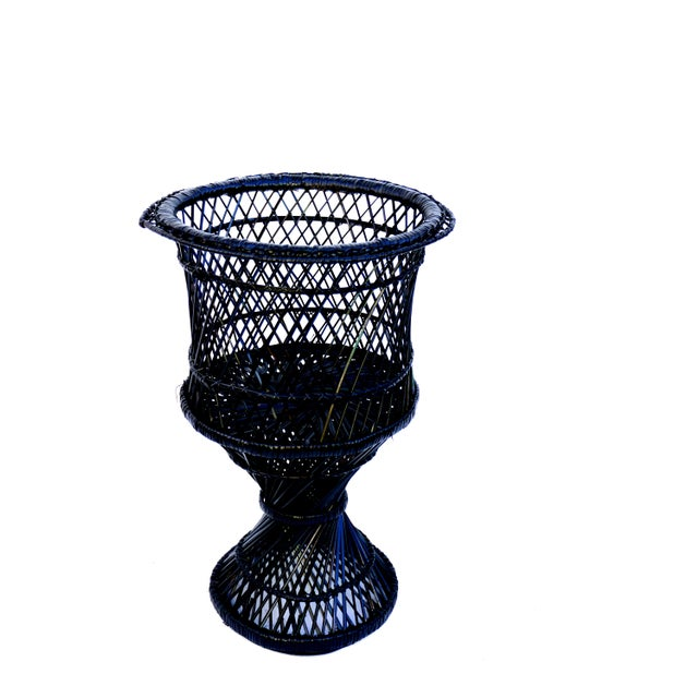 Mid-Century Black Woven Rattan Plant Stand For Sale - Image 9 of 11
