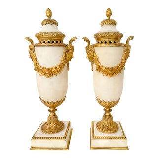 19th C. Gilt Bronze Mounted White Marble Urns With Covers by Henri Picard - a Pair For Sale