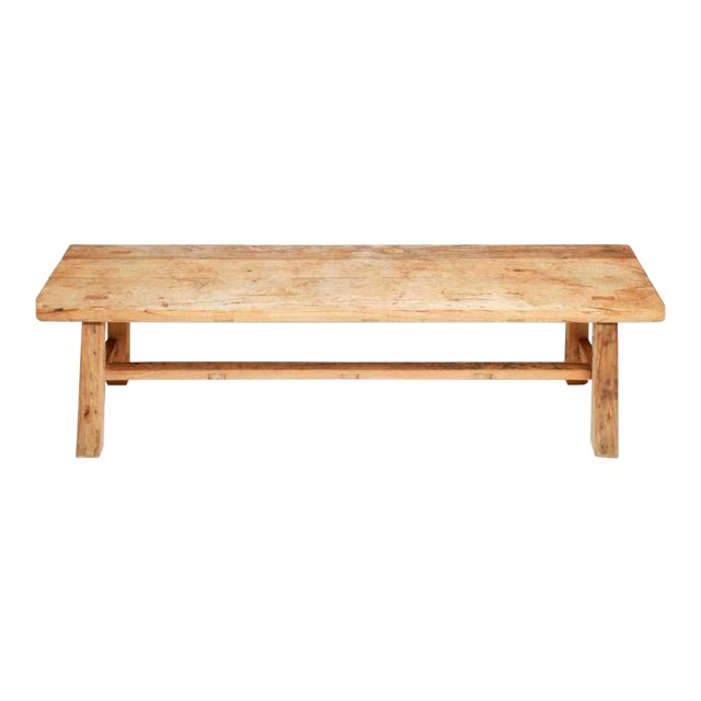1970s Organic Teakwood Continental Bench Coffee Table For Sale
