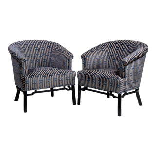Pair Mid Century Baker Club Chairs With New Upholstery For Sale