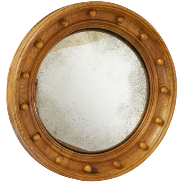 Mid 19th Century Pine Convex Mirror For Sale