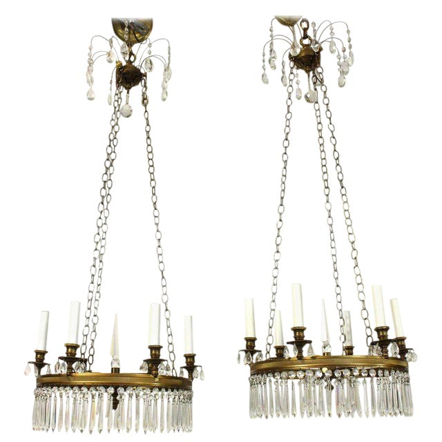 Pair of Regency Style Chandeliers For Sale