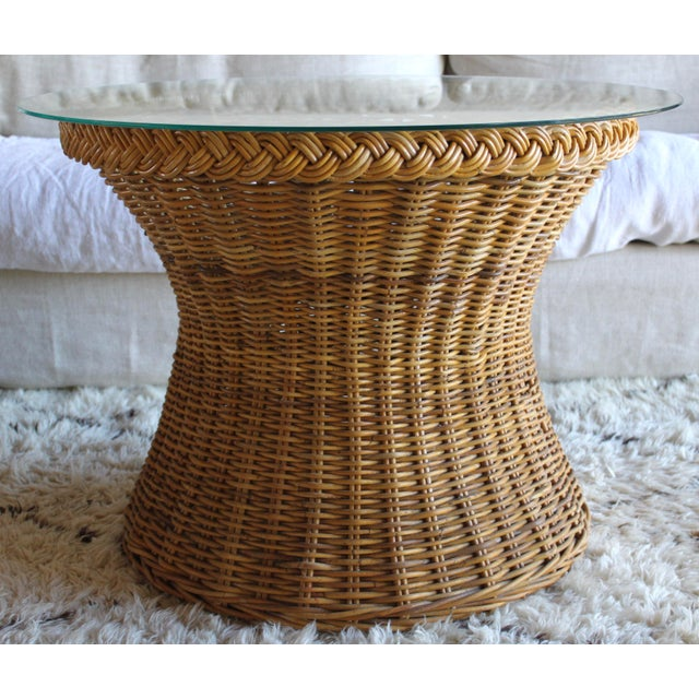 1970s Vintage Mid Century the Wicker Works San Franisco Rattan Woven High End Tulip Side Table Albini Style For Sale - Image 5 of 7