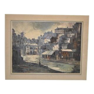 Vintage Mid Modern Impressionist European City Square Oil Painting c.1962 For Sale
