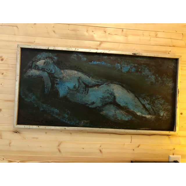 Vintage Mid-Century Blue Reclining Nude Oil Painting by Etienne Ret For Sale - Image 10 of 10