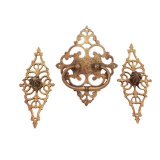 18th Century, Wrought Brass 3 Chest Handles - Set of 3 For Sale
