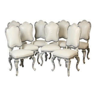 Italian Louis XV Style Dining Chairs - Set of 8 For Sale