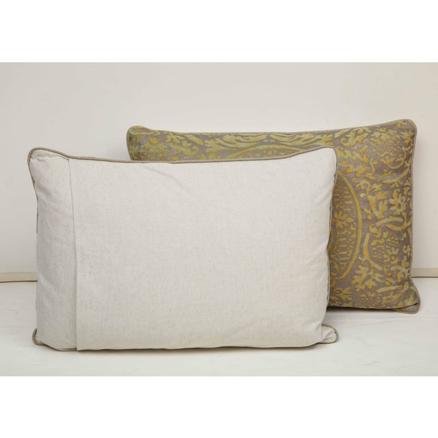 Brown Fortuny Pillow in Acid Green and Grey For Sale - Image 8 of 9