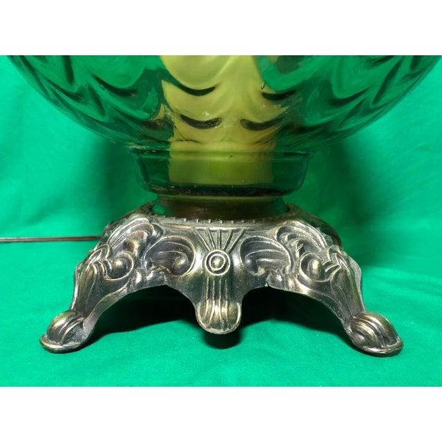 Hollywood Regency Vintage Hollywood Regency Green Glass Lamp For Sale - Image 3 of 7