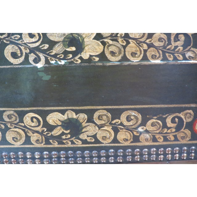 Moroccan Style Painted Trunk With Stand - Image 8 of 8