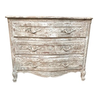 Vintage French Off White Painted and Distressed Three Drawer Dresser For Sale