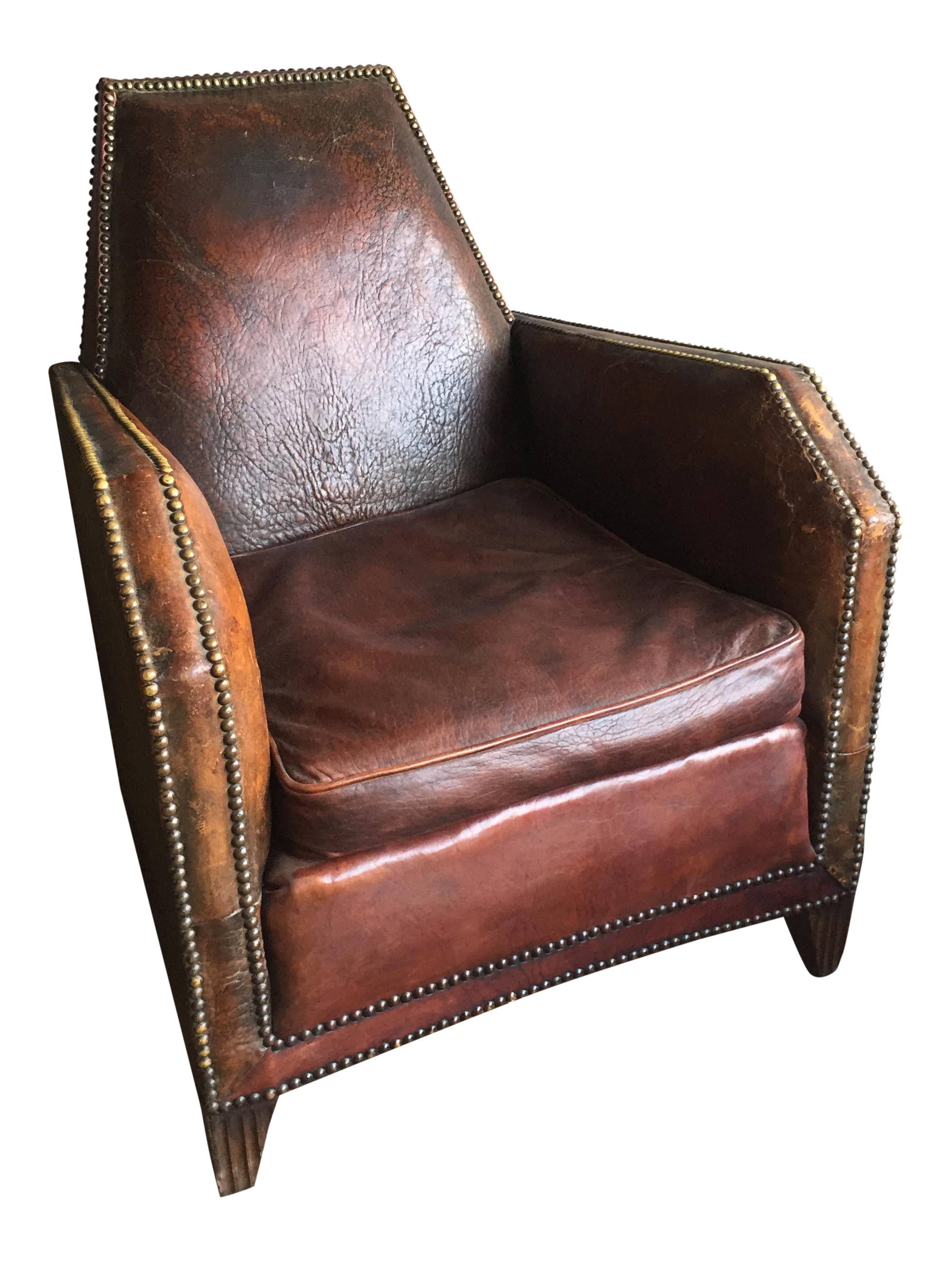 1930u0027s Restored English Leather Brass Studded Club Chair