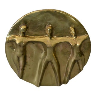 Mid-Century Modern Solid Bronze Hand-Crafted Table Art, Sculpture 'Women United' For Sale