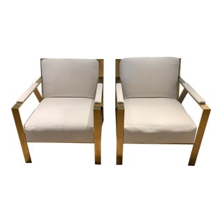 White Robin Bruce Brass Chairs - A Pair For Sale