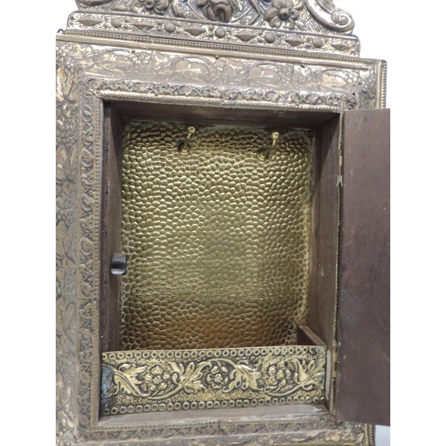 Antique Repose Brass Vanity Reliquary with Mirrored Door and Coat Brushes For Sale - Image 5 of 8