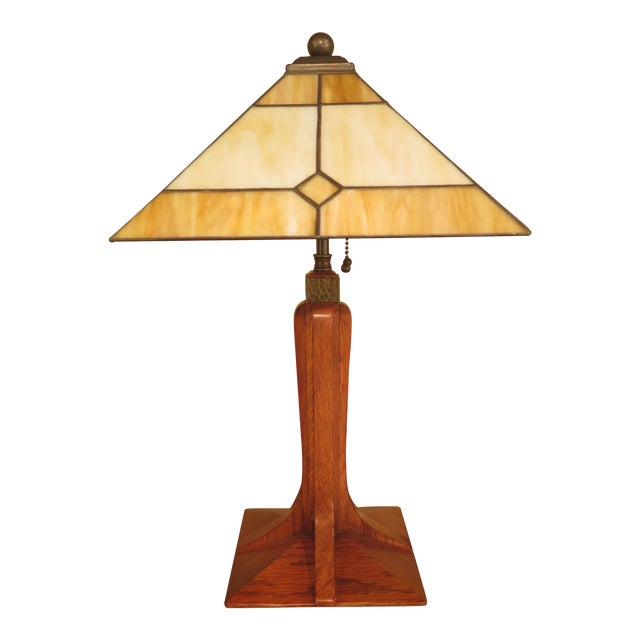 Stickley Arts & Crafts Mission Oak Stained Glass Table Lamp - Image 1 of 7