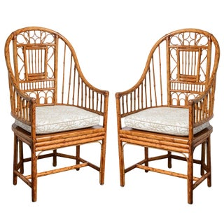 Vintage High Back Bamboo Brighton Chairs A-Pair For Sale