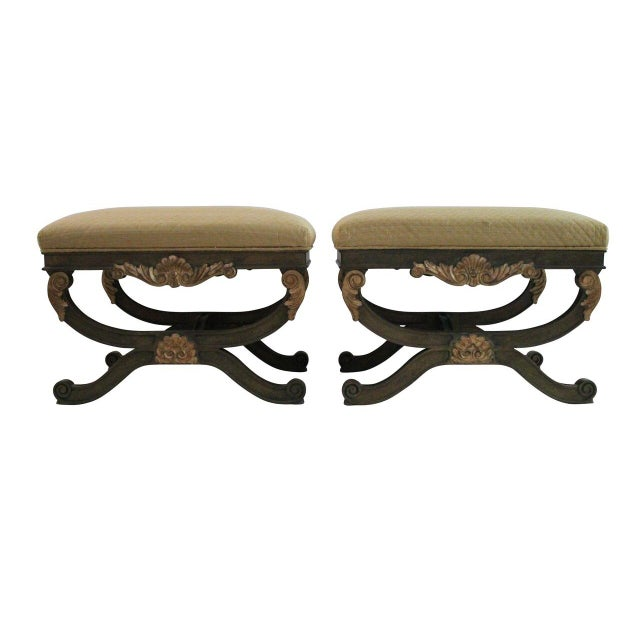 Neoclassical Gilt Benches - Pair - Image 1 of 4
