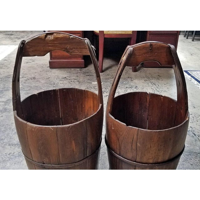 Brown Pair of 19c Oak and Iron Banded Water Buckets or Pails For Sale - Image 8 of 11