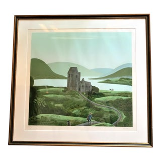 """1980s Thomas McKnight Framed and Numbered Serigraph """"Irish Castle"""" For Sale"""