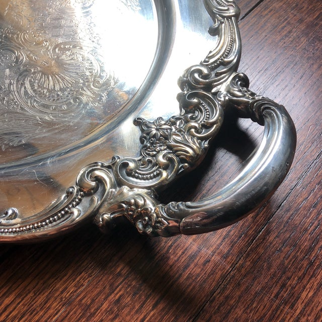 1950s Reed & Barton El Greco Large Silverplated Serving Waiter Tray For Sale - Image 5 of 13