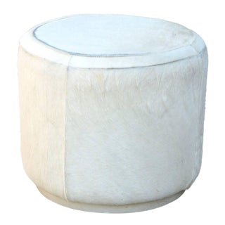 1970s Vintage Hide Covered Cylinder Ottoman Stool For Sale