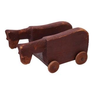 Vintage Hand-Carved Wooden Cattle Cart For Sale
