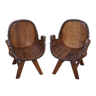 Vintage Oak Barrel Lounge Chairs - A Pair