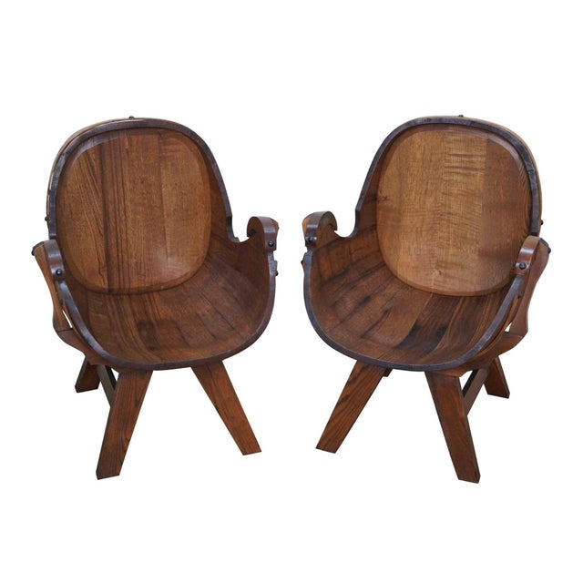 Vintage Oak Barrel Lounge Chairs - A Pair For Sale