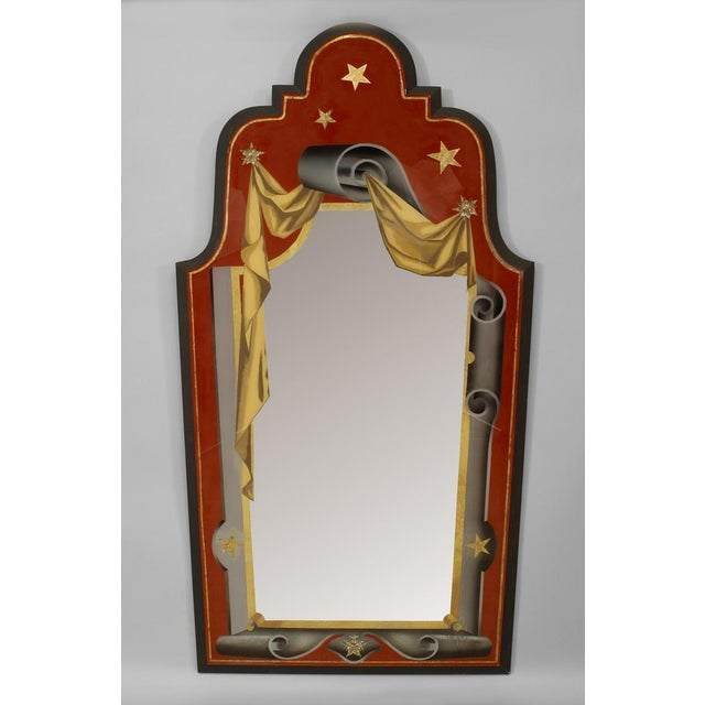 Pair of Italian Art Deco style red, gold, and grey painted eglomise wall mirrors with scroll and star design and a shaped...