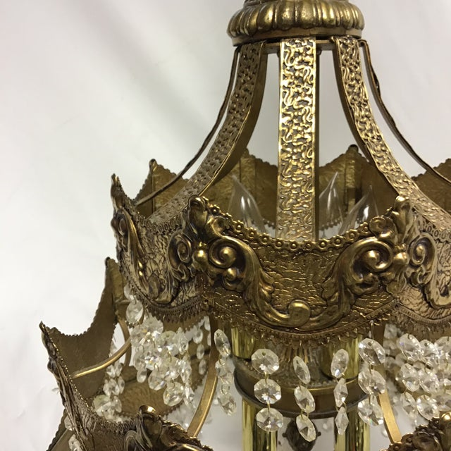 Gold French Gold Tier Swag Lamp Chandelier For Sale - Image 8 of 12