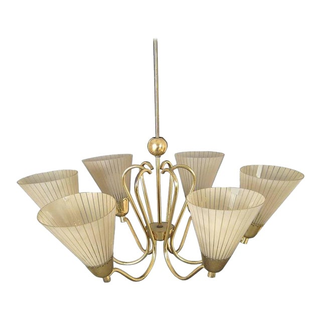 German Brass & Etched Glass Chandelier, 1950s For Sale