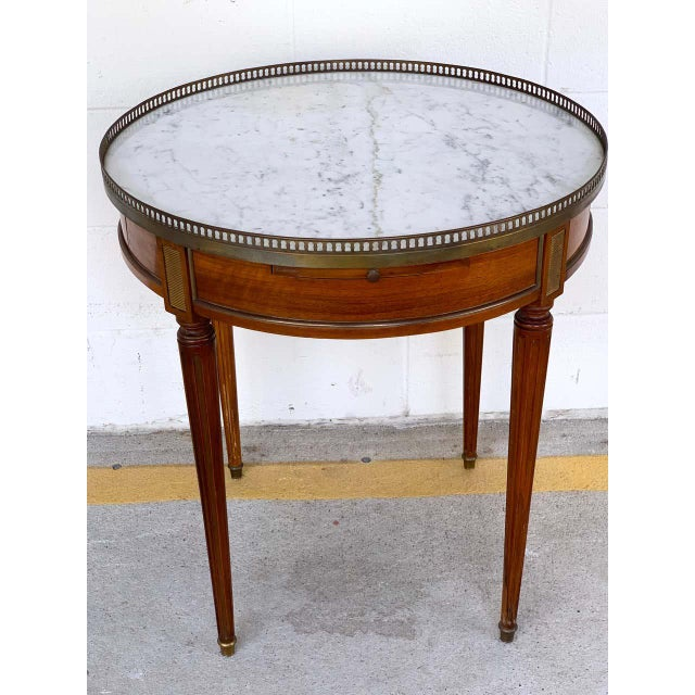 Late 20th Century Louis XVI Style Carrera Marble-Top Bouillotte Table, Stamped Made in France For Sale - Image 5 of 10