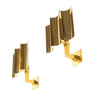 Artisan Solid Brass Wall Lamps Sconces Art Deco Style, France, 1950 For Sale