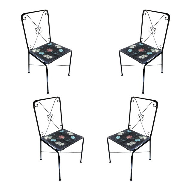 Scrolling Iron Patio/Outdoor Lounge Chair W/ Pad Seat - Set of 4 For Sale
