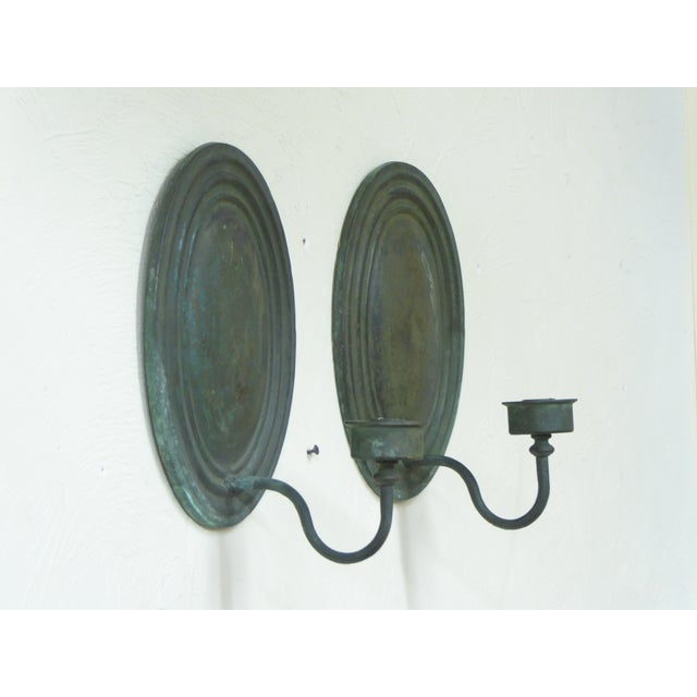 Late 20th Century Vintage Classical Verdegris Bronze Oval Sconces for Candles - a Pair For Sale - Image 5 of 5
