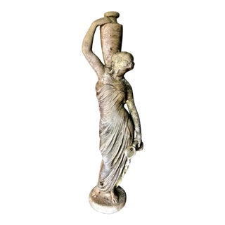 Neoclassical Stone Figural Garden Statue of Woman With Urn For Sale