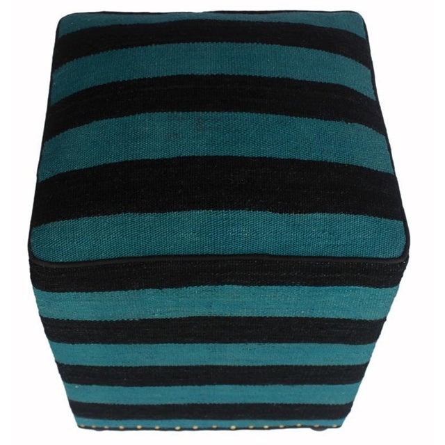 Arshs Deedra Blue/Black Kilim Upholstered Handmade Ottoman For Sale - Image 4 of 8