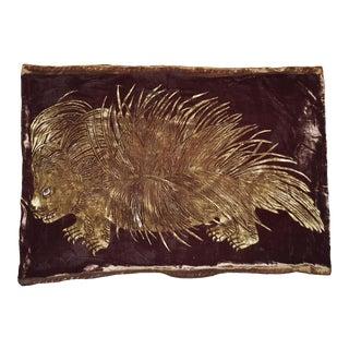 Porcupine Italian Silk Velvet Pillow For Sale