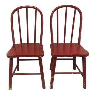 Antique Children's Red Chairs- a Pair
