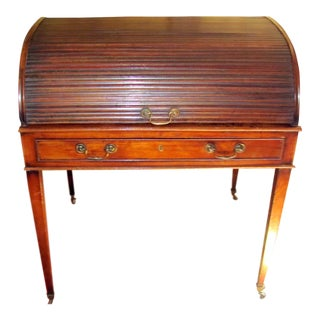 18th C. George III/Hepplewhite Period Mahogany Tambour Cylinder Writing Desk