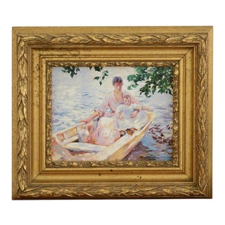 Oil on Canvas Painting of a Mother and Child in a Boat by D. Chandler For Sale