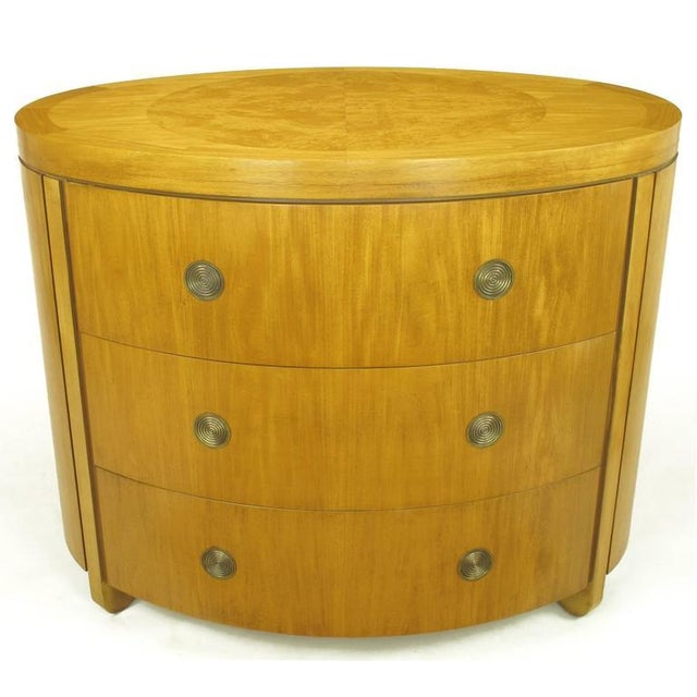 Charles Pfister for Baker Prima Vera Mahogany Three-Drawer Oval Commode For Sale - Image 10 of 10