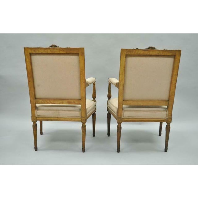 Brown Vintage Carved Walnut French Louis XVI Directoire Square Back Fireside Arm Chairs- a Pair For Sale - Image 8 of 10