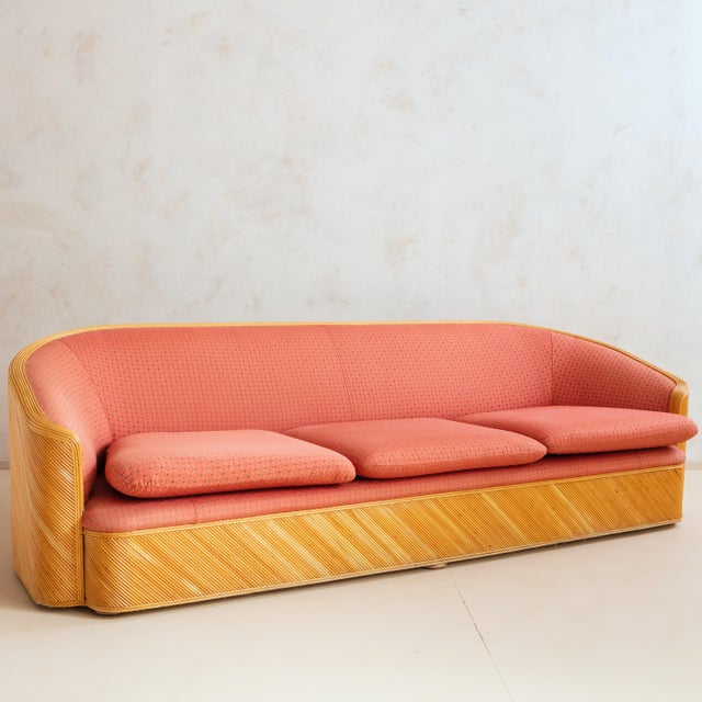 Split Reed Curved Sofa With Red Original Upholstery Fabric For Sale - Image 9 of 9