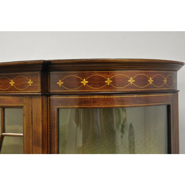 English Edwardian Satinwood Inlay Bowed Curved Glass China Display Cabinet Curio For Sale - Image 9 of 13