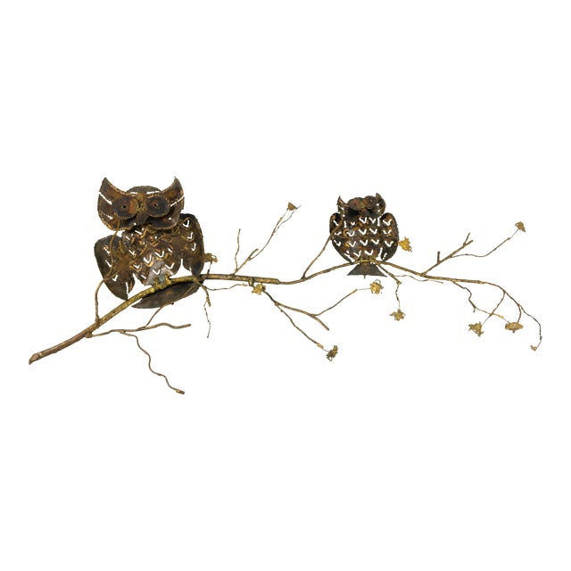 1960s Brass & Copper Owl Wall Sculpture - Image 1 of 6