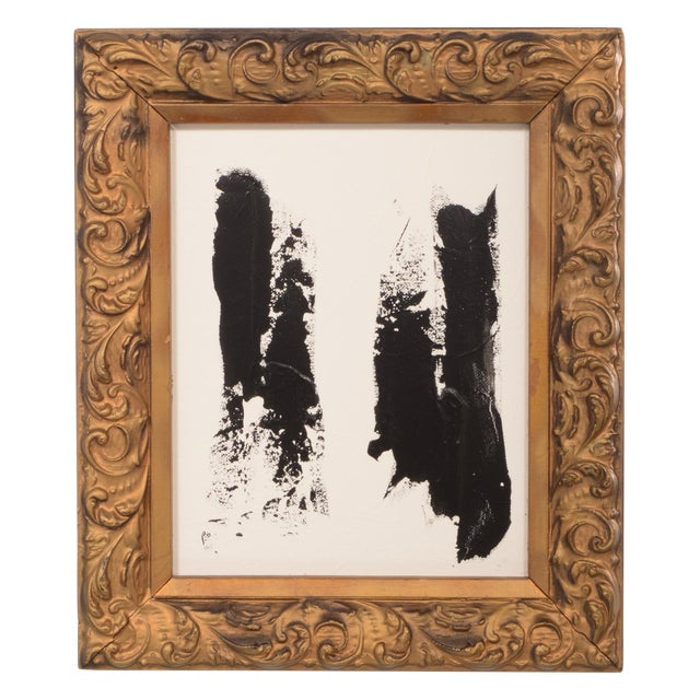 Original Black and White Abstract Painting in Vintage Frame For Sale