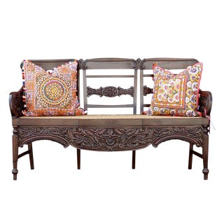 Indo Porteguese Rosewood Settee For Sale