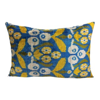Blue and Yellow Silk Velvet Pillow For Sale
